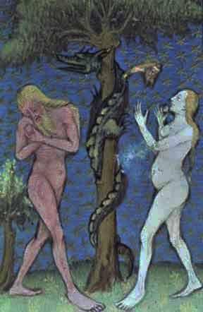 Adam et Eve tentés par le serpent, peinture medievale